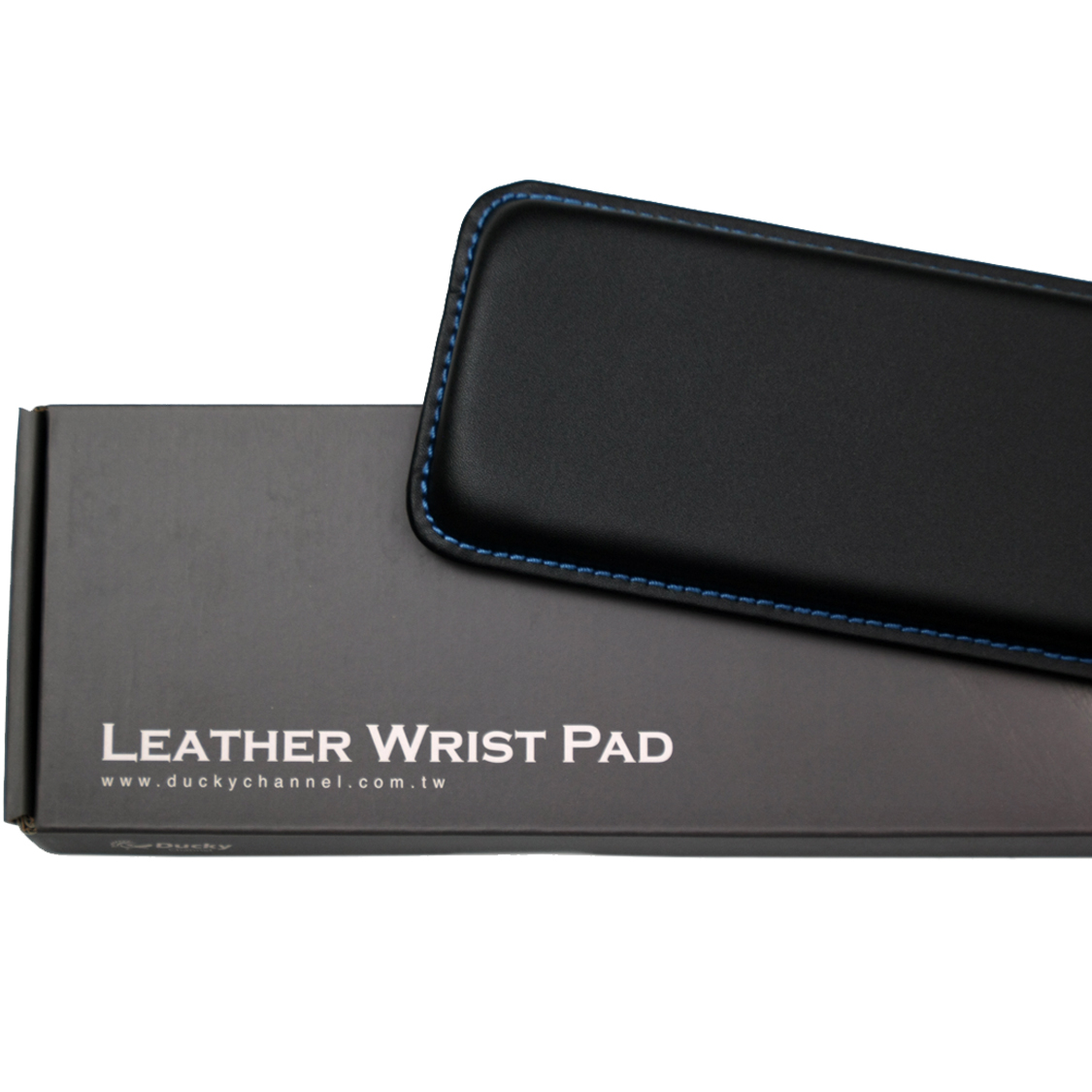 Ducky Full Size Leather Wrist Rest Blue Stitching